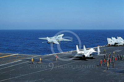 F-14USN 00846 A Grumman F-14 Tomcat USN VF-74 BEDEVILERS takes off from USS Saratoga 11-1984, by