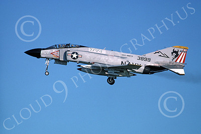 F-4USN 00048 A landing McDonnell Douglas F-4J Phantom II US Navy 153899 VF-74 BE-DEVILERS USS Nimitz May 1976 military airplane pictue by Michael Grove, Sr