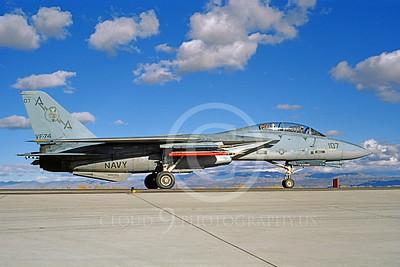 F-14USN 00853 A taxing Grumman F-14 Tomcat USN VF-74 BEDEVILERS USS Saratoga NAS Fallon 11-1985, by Michael Grove, Sr