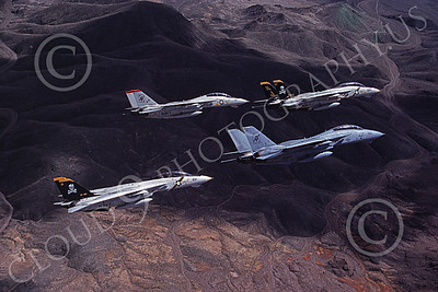 F-14USN 00868 Four flying Grumman F-14 Tomcats USN VF-84 JOLLY ROGERS and VF-41 BLACK ACES 4-1990, by Robert L Lawson
