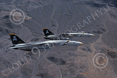 F-14USN 00870 Two flying Grumman F-14 Tomcats USN VF-84 JOLLY ROGERS USS Theodore Roosevelt 4-1990, by Robert L Lawson
