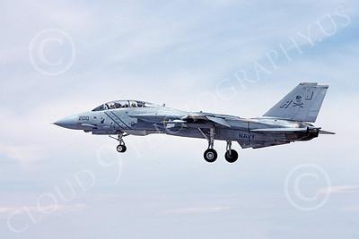 F-14USN 00888 A landing Grumman F-14 Tomcat USN VF-84 JOLLY ROGERS USS Nimitz NAS Fallon 5-1984, by Michael Grove, Sr