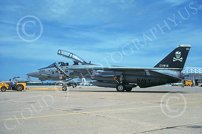 F-14USN 00889 A towed Grumman F-14 Tomcat USN VF-84 JOLLY ROGERS USS Theodore Roosevelt NAS Oceana 7-1991, by David F Brown