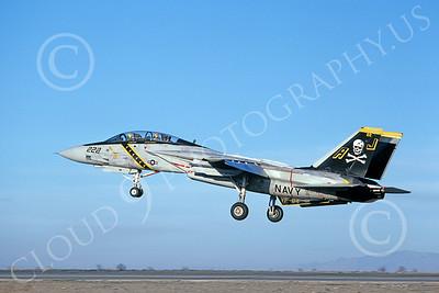 F-14USN 00880 A landing Grumman F-14 Tomcat USN 161140 VF-84 JOLLY ROGERS USS Nimitz NAS Fallon 1-1981, by Michael Grove, Sr
