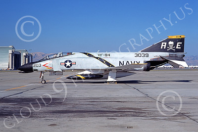 F-4USN 00147 McDonnell Douglas F-4B Phantom II US Navy 153039 VF-84 JOLLY ROGERS NAS Moffett Aug 1974, military airplane picture, by Michael Grove, Sr D