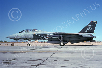 F-14USN 00879 A taxing Grumman F-14 Tomcat USN 160408 VF-84 JOLLY ROGERS NAS Fallon 10-1992, by Michael Grove, Sr