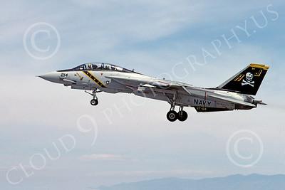 F-14USN 00878 A landing Grumman F-14 Tomcat USN 161141 VF-84 JOLLY ROGERS USS Nimitz NAS Fallon 5-1984, by Michael Grove, Sr