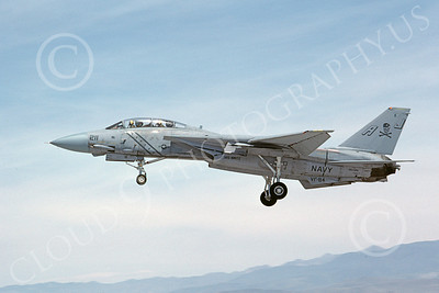 F-14USN 00884 A landing Grumman F-14 Tomcat USN 160386 VF-84 JOLLY ROGERS USS Nimitz NAS Fallon 5-1984, by Michael Grove, Sr