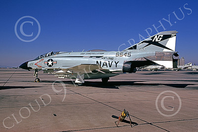 F-4USN 00807 A static McDonnell Douglas F-4J Phantom II US Navy 5545 VF-96 FIGHTING FALCONS USS Constellation NAS Miramar 11-1973 military airplane picture by Michael Grove, Sr