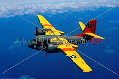 S-2USN-VC-3 002 A flying colorful Grumman US-2C Tracker USN 133345 UF tail code VC-3 IRON MEN 5-1975 military airplane picture by Robert L Lawson     Dwt