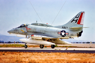 A-4-USN-VC-7 002 A USN Douglas A-4F Skyhawk, 155017, VC-7 TALLYHOERS, UH tail code, taxing at NAS Miramar 9-1975, military airplane picture by Stephen W  D  Wolf     BBB_9378     Dt