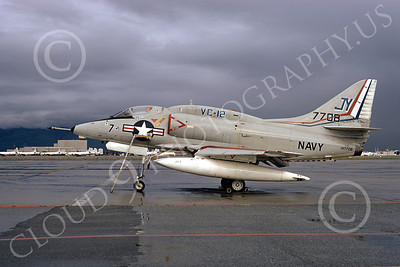 A-4USN 00132 A USN Douglas A-4L Skyhawk attack jet, 147708, VC-12 OMARS, NAS Moffett 3-1974, airplane picture, by Michael Grove, Sr