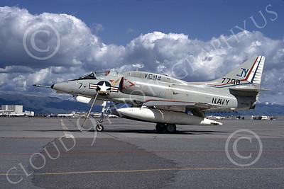 A-4USN 00133 A USN Douglas A-4L Skyhawk attack jet, 147708, VC-12 OMARS, NAS Moffett 3-1974, airplane picture, by Michael Grove, Sr