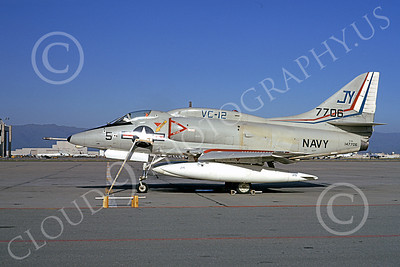 A-4USN 00131 A USN Douglas A-4L Skyhawk attack jet, 147706, VC-12 OMARS, NAS Moffett 3-1974, airplane picture, by Michael Grove, Sr