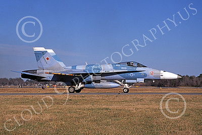 Boeing F-18C-USN 00175 A taxing blue Boeing F-18C Hornet USN VFC-12 OMARS NAS Oceana 1994 military airplane picture by David F Brown