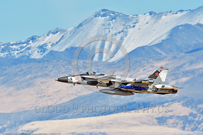 F-18A-USN-VFC-12 0008 A flying McDonnell Douglas F-18A Hornet USN jet fighter 162844 VFC-12 FIGHTING OMARS commanding officer's airplane climbing out after take off at NAS Fallon 3-2017 military airplane picture by Peter J Mancus     DONEwt