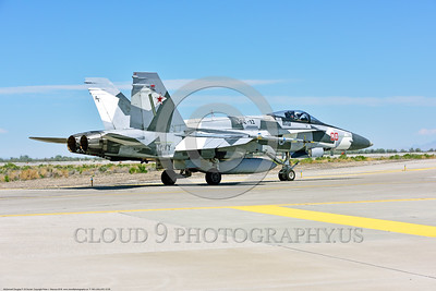 F-18A-USN-VFC-12 0005 A McDonnell Douglas F-18A USN 162867 VFC-12 FIGHTING OMARS adversary jet fighter in artic splinter livery taxis at NAS Fallon 4-2016 military airplane picture by Peter J  Mancus