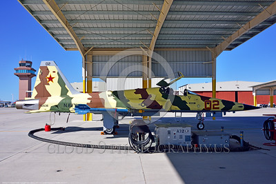 "F-5USN-VFC-13 0017 A static under an opened hangar Northrop F-5E Freedom Fighter USN 761536 VFC-13 SAINTS jet fighter in ""Banana"" livery at NAS Fallon 4-2016 military airplane picture by Peter J  Mancus_01"