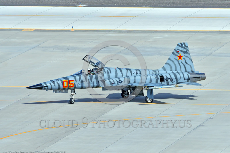 """F-5USN-VFC-13 0029 A Northrop F-5E Freedom Fighter USN jet fighter 761544 VFC-13 """"SAINTS"""" taxis at NAS Fallon 3-2017 military airplane picture by Peter J Mancus     DONEwt"""