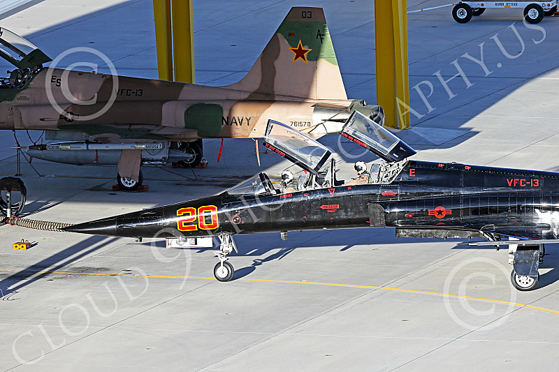 F-5USN 00181 Close up of aircrew in a black Northrop F-5B Freedom Fighter USN 761580 VFC-13 SAINTS at NAS Fallon 1-2015 with rarely delployed chute military airplane picture by Peter J Mancus