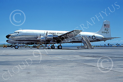 C-118USN 00021 A static Douglas C-118 Liftmaster USN 128427 VR-21 PINEAPPLE AIRLINES RZ code NAS Barbers Pt 8-1976 military airplane picture by Roy Lock