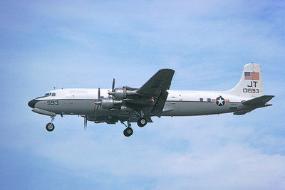 C-118USN 00020 A landing Douglas C-118B Liftmaster USN 131593 VR-52 TASKMASTERS JT code 1-1980 military airplane picture by Michael Grove, Sr