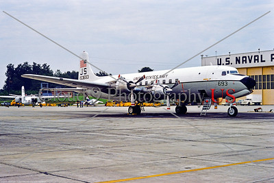 C-118USN-VR-54 001 A static Douglas C-118B Liftmaster USN 153693 VR-54 REVELERS JS tail code fleet logistics support aircraft NAS Atlanta 9-1974 military airplane picture by Stephen W  D  Wolf     BBB_2520     DWT
