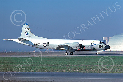 P-3USN 00225 A taxing Lockheed P-3 Orion USN 152141 VP-65 TRIDENTS NAS Moffett 2-1977 military airplane picture by Michael Grove, Sr