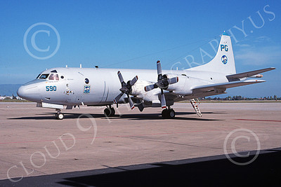 P-3USN 00235 A static Lockheed P-3 Orion USN VP-65 TRIDENTS NAS Moffett 4-1998 military airplane picture by Tom Chee