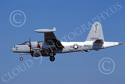 P-2USN 00066 A landing Lockheed SP-2H Neptune USN 145915 VP-67 GOLDEN HAWKS 10-1988 military airplane picture by Barry E Roop