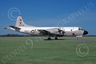 P-3USN 00071 A static Lockheed P-3 Orion USN 152735 VP-68 BLACK HAWKS LW code Dover AFB 5-1985 military airplane picture by Barry E Roop