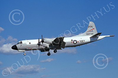 P-3USN 00160 A landing Lockheed P-3 Orion USN 152732 VP-91 BLACK CATS 3-1988 military airplane picture by Michael Grove, Sr