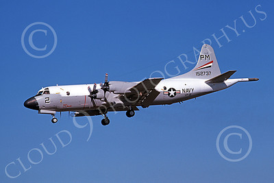 P-3USN 00156 A landing Lockheed P-3 Orion USN 152737 VP-91 BLACK CATS NAS Miramar 6-1979 military airplane picture by Michael Grove, Sr