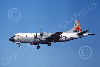 P-3USN 00158 A landing Lockheed P-3 Orion USN 159513 VP-19 BIG RED 5-1982airplane picture, by Michael Grove, Sr