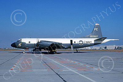 P-3USN 00085 A static Lockheed P-3 Orion USN 150527 VP-19 BIG RED PE code NAS Moffett 11-1964 military airplane picture by William L Swisher