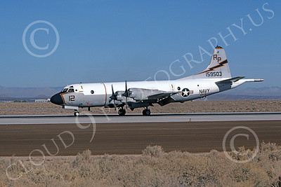 P-3USN 00255 A taxing Lockheed P-3 Orion USN 159503 VP-31 BLACK LIGHTNINGS Edwards AFB 12-1980 military airplane picture by Michael Grove, Sr