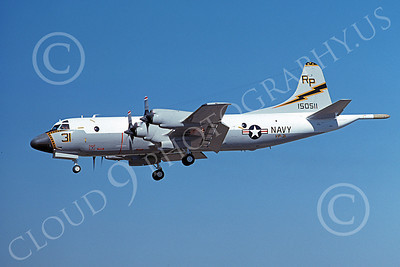 P-3USN 00192 A landing Lockheed P-3 Orion USN 150511 VP-31 BLACK LIGHTNINGS 8-1977 military airplane picture by Michael Grove, Sr
