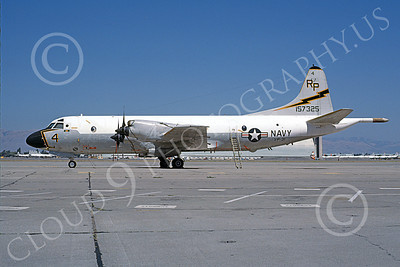 P-3USN 00259 A static Lockheed P-3 Orion USN 157325 VP-31  BLACK LIGHTNINGS NAS Moffett 8-1985 airplane picture, by Michael Grove, Sr