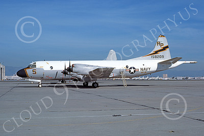 P-3USN 00261 A static Lockheed P-3 Orion USN 158209 VP-31 BLACK LIGHTNINGS NAS Moffett 3-1977 military airplane picture by Michael Grove, Sr