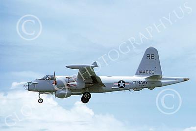 P-2USN 00130 A landing Lockheed P-2 Neptune USN 144683 VP-42 SEA DEMONS anti-submarine warfare airplane 8-1968 by Clay Jansson