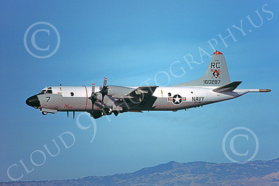 P-3USN 00318 A flying Lockheed P-3A Orion USN 160287 VP-46 GRAY KNIGHTS RC code 6-1977 military airplane picture by Michael Grove, Sr