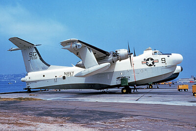 P5M-USN-VP-50 001 A static Martin P5M Marlin USN seaplane, 147932,  VP-50 BLUE DRAGONS, at NAS North Island 4-1980, military airplane picture by Clay Janson     Dt
