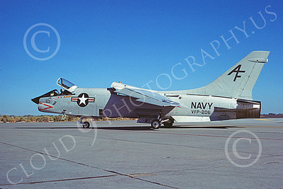 RF-8USN 00029 A taxing Vought RF-8 Crusader USN 144614 VFP-206 HAWKEYES AF code NAS Fallon 10-1981 military airplane picture by Michael Grove, Sr