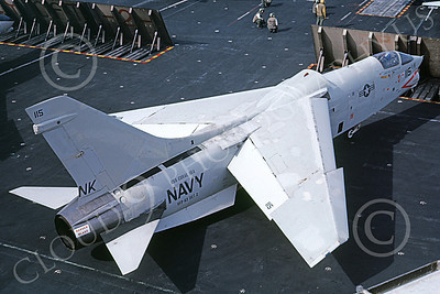 RF-8USN 00043 A taxing Vought RF-8 Crusader USN 144607 VFP-63 EYES OF THE FLEET USS Coral Sea NK code 8-1979 military airplane picture by Peter Clayton