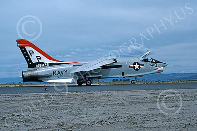 RF-8USN 00041 A taxing Vought RF-8 Crusader USN 146876 VFP-63 EYES OF THE FLEET BICENTENNIAL NAS Fallon 6-1976 military airplane picture by Michael Grove, Sr