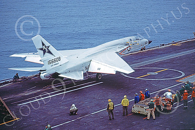 RA-5C 00076 A North American RA-5C Vigilante USN 156608 RVAH-7 PEACEMAKERS OF THE FLEET on USS Ranger 20 Oct 1978 military airplane picture by Robert L Lawson
