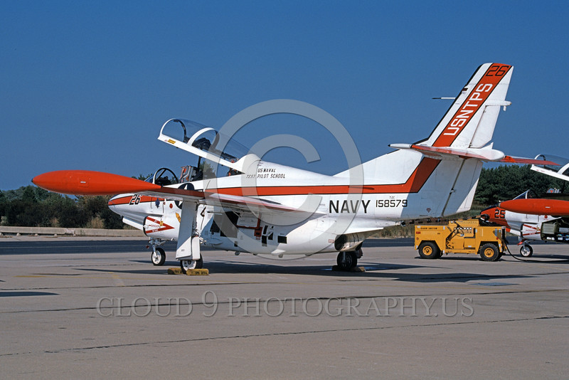 T-2USN 00093 A static North American Aviation T-2C Buckeye US Naval Test Pilot School 158579 NAS Pax River 5-1985 military airplane picture by Robert Lawson