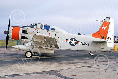 A-1USN 00035 Douglas NA-1E Skyraider USN 132443 Weapons Test and Evaluation 19 June 1971, military airplane picture, by Frank MacSorley
