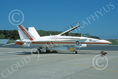McDonnell Douglas TF-18A-USN 00005 A static white McDonnell Douglas TF-18A Hornet USN 161249 USNTPS NAS Pax River 4-1986 military airplane picture by Stephen H Miller