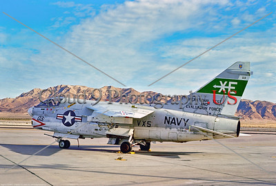 A-7USN-VX-5 001 A static Vought A-7E Corsair II, USN carrier based attack jet, 158805, VX-5 VAMPIRES, 2-1975 Nellis AFB, military airplane picture by Stephen W  D  Wolf       DDD_4996     Dt